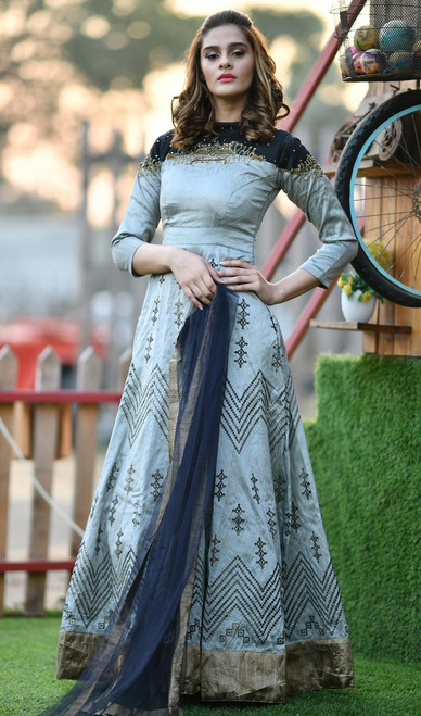 Gray Color Shaded Silk Embroidered Anarkali Suit