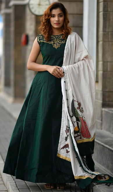 Embroidered Silk Green Color Anarkali Suit