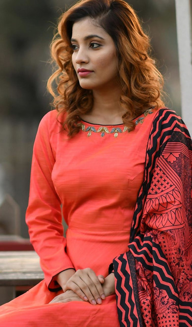 Salmon Color Shaded Silk Embroidered Anarkali Suit