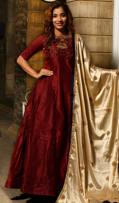 Maroon Color Silk Embroidered Anarkali Suit