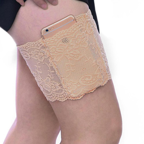 Lace Thigh Band with Cell Phone Holder Pocket Anti Chafing Thigh Garter Sock FREE Eyeglass Pouch  - FREE SHIPPING