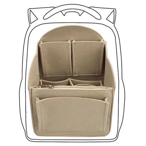 Felt Back Pack Organizer, Bag in Bag Organizer for Handbags FREE Eyeglass Pouch - FREE SHIPPING (Beige)