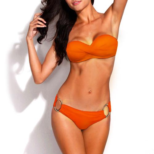 Bikini Two Piece Orange Push Up Swimsuit for Women Sexy Bathing Suit Brazilian Bikini Swimwear with Metal Ring FREE Eyeglass Pouch by Kaneesha - FREE SHIPPING