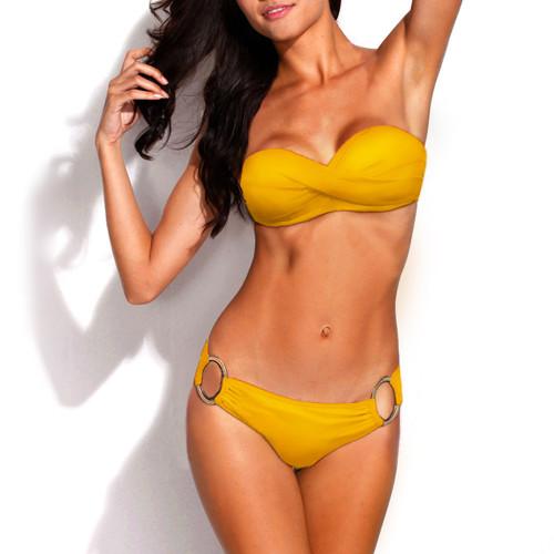Bikini Two Piece Yellow Push Up Swimsuit for Women Sexy Bathing Suit Brazilian Bikini Swimwear with Metal Ring FREE Eyeglass Pouch by Kaneesha - FREE SHIPPING