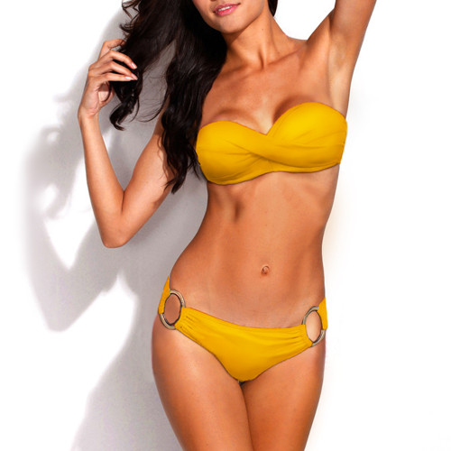 Bikini Two Piece Yellow Push Up Swimsuit for Women Sexy Bathing Suit Brazilian Bikini Swimwear with Metal Ring FREE Eyeglass Pouch by Kaneesha - FREE SHIPPING