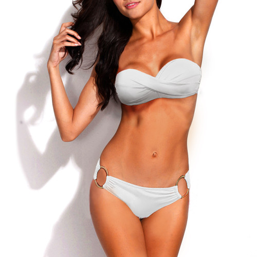 Bikini Two Piece White Push Up Swimsuit for Women Sexy Bathing Suit Brazilian Bikini Swimwear with Metal Ring FREE Eyeglass Pouch by Kaneesha - FREE SHIPPING
