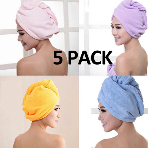 Microfiber Hair Towel 5 PACK Hair Towel Wrap Turbans for Women Variety Color FREE Eyeglass Pouch by Kaneesha - FREE SHIPPING