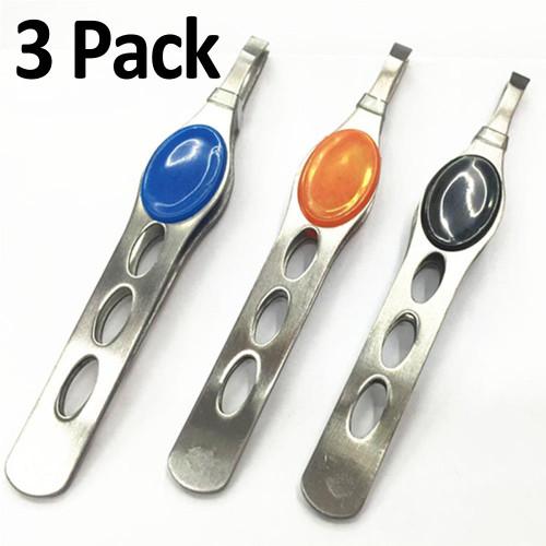 Eyebrow Tweezers 3 PCS Stainless Steel Tweezer, FREE Eyeglass Pouch by Kaneesha - FREE SHIPPING