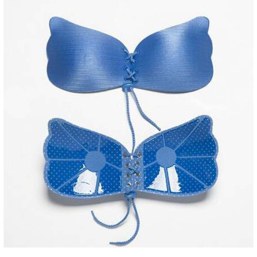 Silicon Bra Strapless Self Adhesive Push Up Bra Silicon Bra Inserts Blue FREE Eyeglass Pouch by Kannesha- FREE SHIPPING
