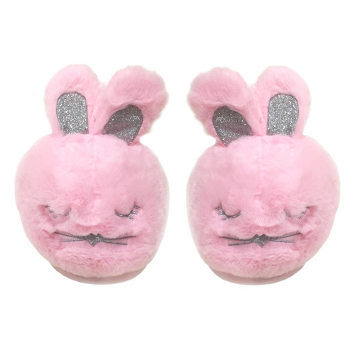 Calm Bunny Slippers Pink Furry Cute Bunny Animal Slipper for Ladies FREE Eyeglass Pouch - FREE SHIPPING