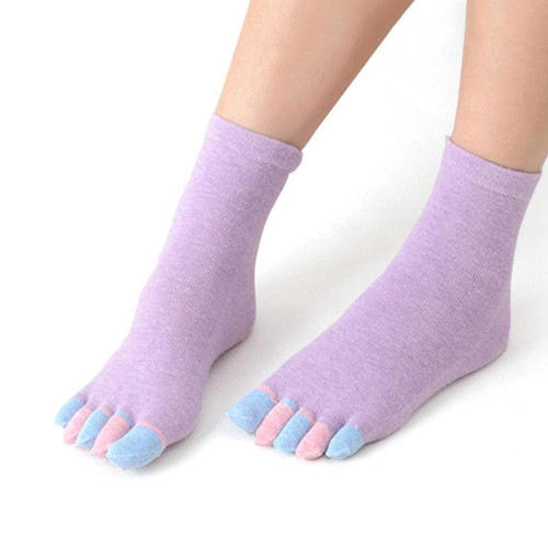 Toe Socks for Women 2 Pair Flip Flop Socks Five Finger Socks FREE Eyeglass Pouch by Kaneesha - FREE SHIPPING