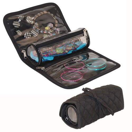 Rollup Jewerlry Organizer Quilted, Removable Tube 2 Pockets Ideal for Travel FREE Eyeglass Pouch - FREE SHIPPING