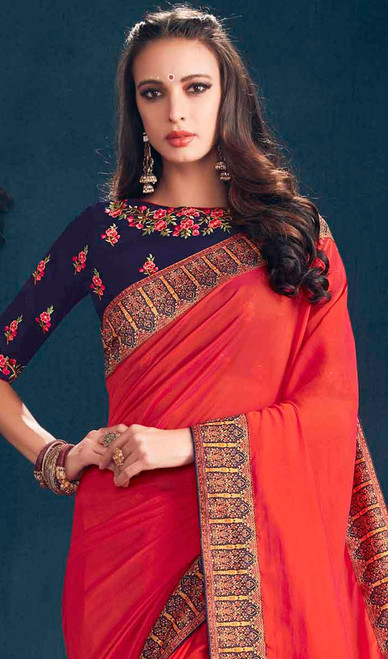 Georgette Red Color Embroidered Sari
