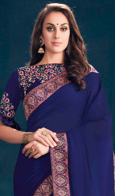 Georgette Blue Color Embroidered Sari