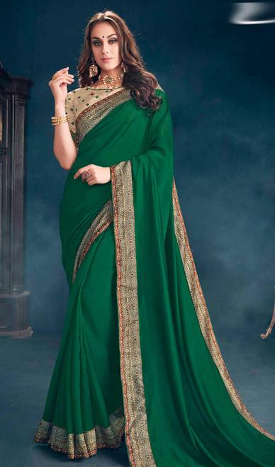 Green Color  Georgette Sari