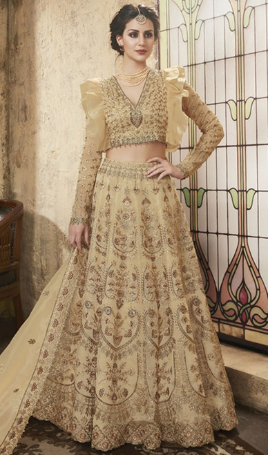 Beige Color Embroidered Net Lehenga Choli
