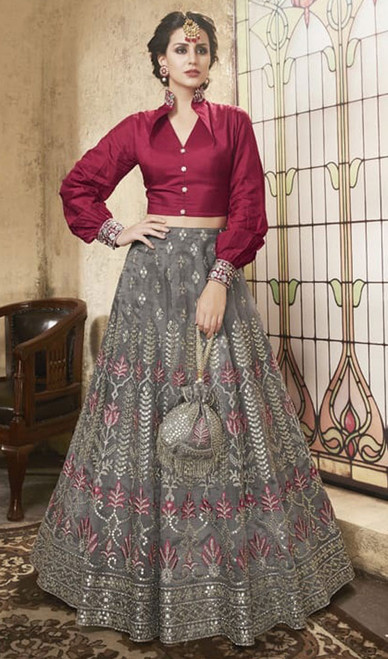 Gray Color Net Embroidered Choli Skirt