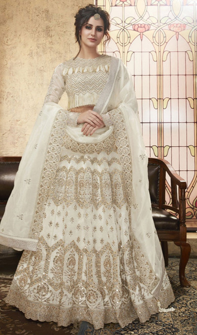 White Color Embroidered Net Lahenga Choli