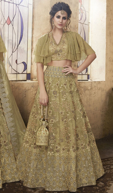 Olive Color Shaded Net Embroidered Lehenga Cholie