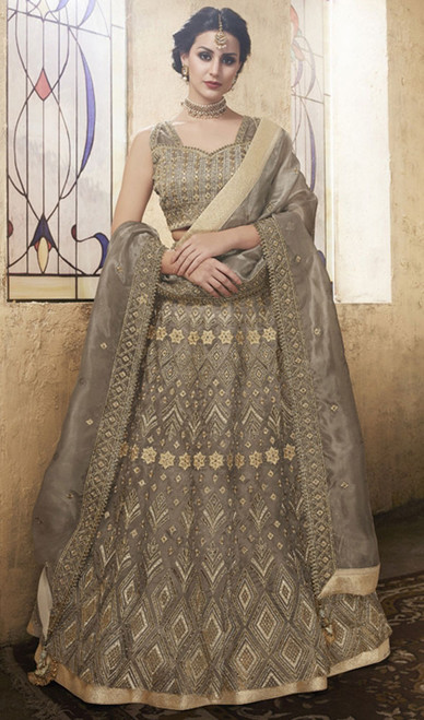Lehenga Choli in Brown Color Embroidered Net