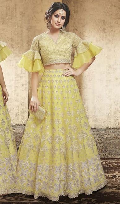 Yellow Color Embroidered Net Lehenga Choli