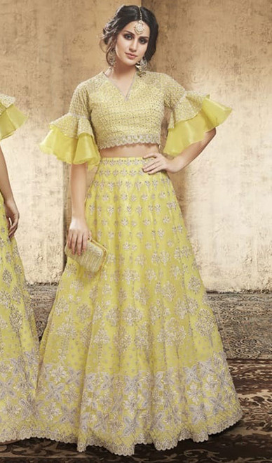 Yellow Color Embroidered Net Lehenga Choli