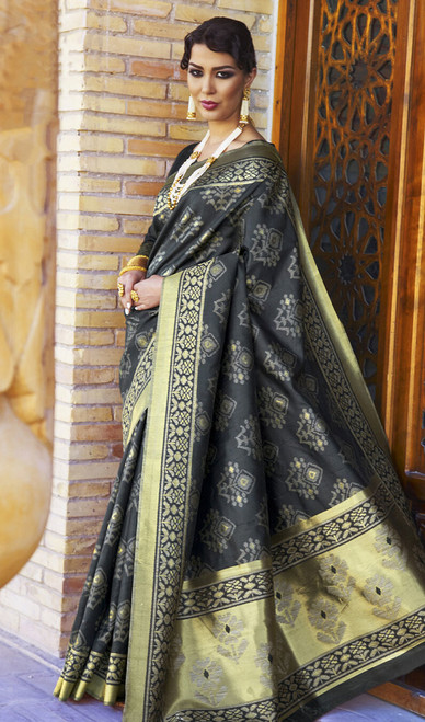 Silk Gray Color Embroidered Sari