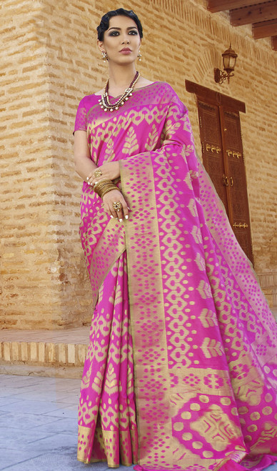 Pink  Embroidered Color Silk Sari