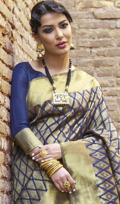 Silk Blue Color Embroidered Sari