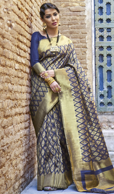 Silk Blue Color Embroidered Sari