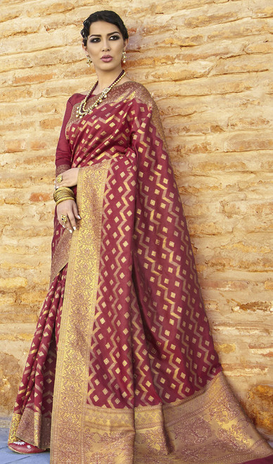 Shaded Maroon Color Embroidered Silk Sari