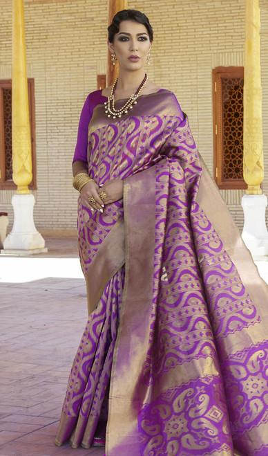Silk Purple Color Embroidered Sari