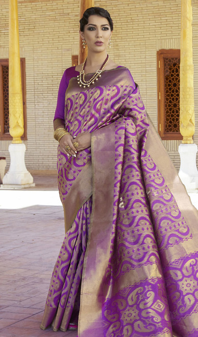 Silk Purple Color Embroidered Sari