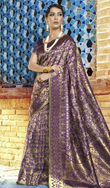 Voilet Color Shaded Silk Embroidered Sari
