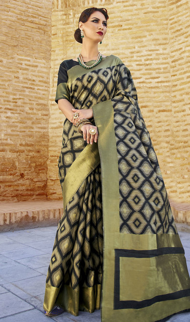 Embroidered Black Color  Silk Sari