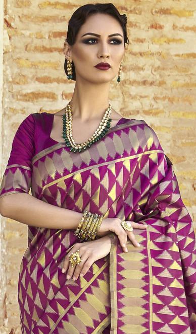 Shaded Purple ColorSilk Embroidered Sari