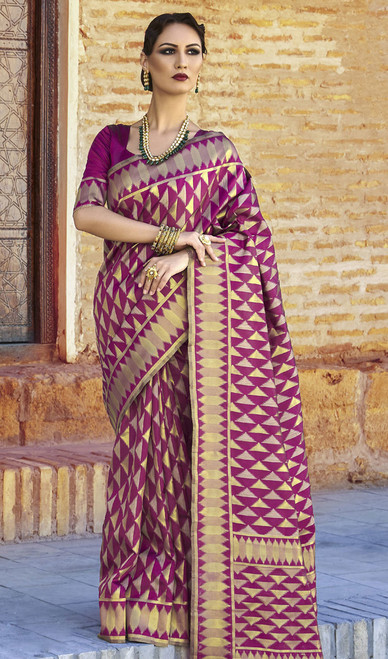 Shaded Purple ColorSilk Embroidered Sari
