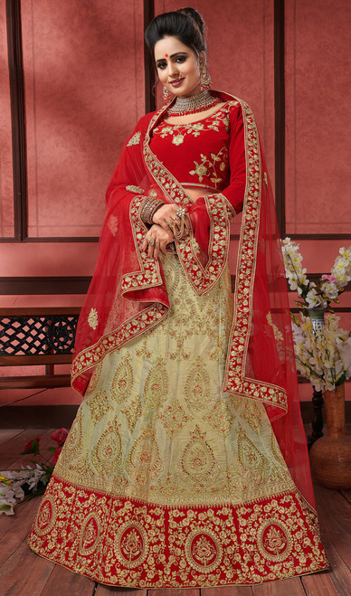 Beige Color Embroidered Silk Lahenga Choli