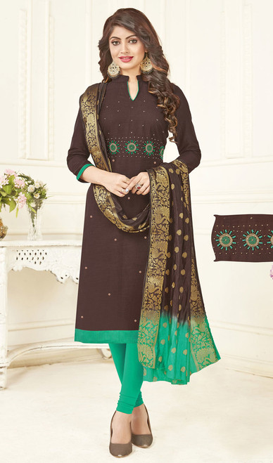 Chocolate Color Embroidered Cotton Churidar Suit