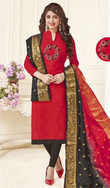 Red Color Cotton Embroidered Churidar Dress