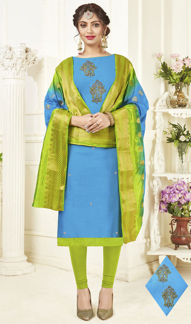 Sky Blue Color Embroidered Cotton Churidar Kameez