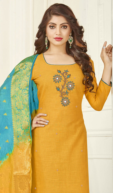 Cotton Yellow Color Embroidered Churidar Suit