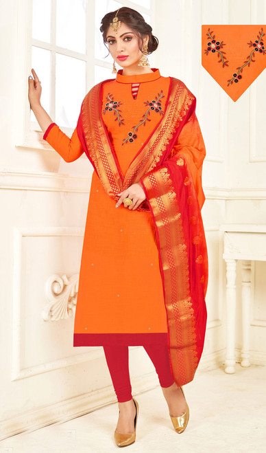 Churidar Suit in Orange Color Shaded Cotton