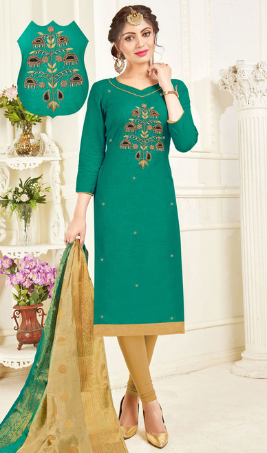 Churidar Dress in Green Color Shaded Cotton