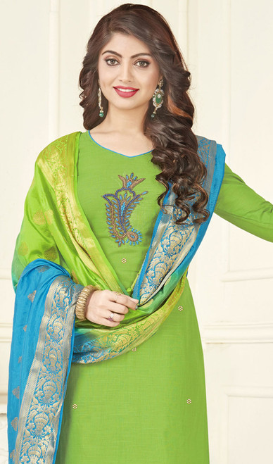 Churidar Kameez in Green Color Shaded Cotton
