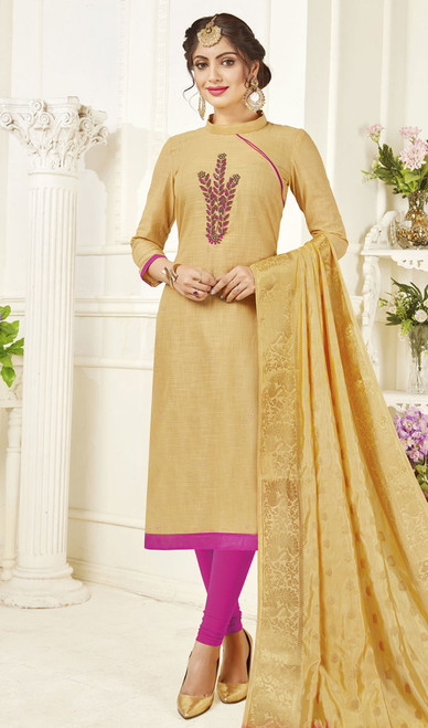 Churidar Suit, Cotton Fabric in Beige Color Shaded
