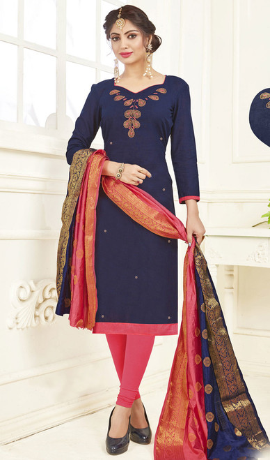 Churidar Dress, Cotton Fabric in Navy Blue Color