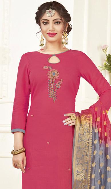 Churidar Kameez, Cotton Fabric in Pink Color