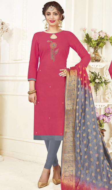 Churidar Kameez, Cotton Fabric in Pink Color