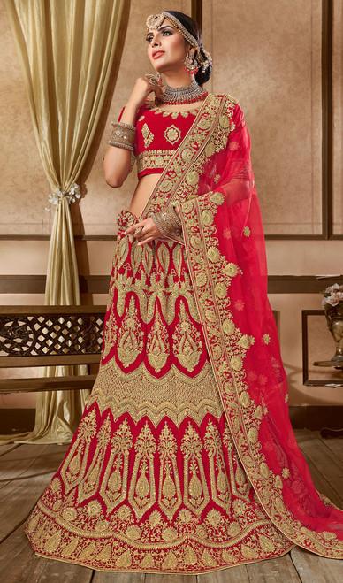 Embroidered  Velvet Lehenga Choli Red Color